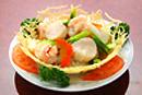 三種海鮮の炒め 飾り籠盛り